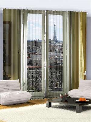 Комплект фотоштор Окно в Париж, 290*265 см Magic Lady. Цвет: бежевый, оранжевый, белый, черный, серый, коричневый