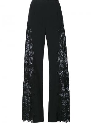 Широкие брюки с вышивкой Jonathan Simkhai. Цвет: чёрный