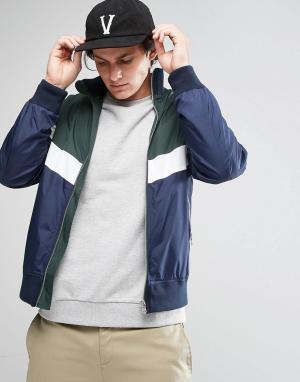 ASOS Куртка на молнии со вставками. Цвет: зеленый