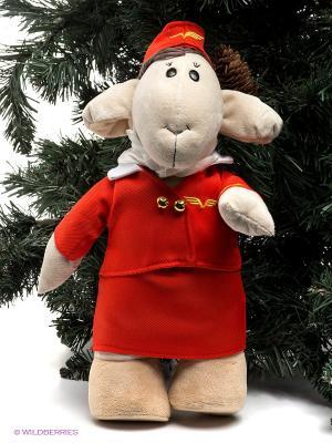 Мягкая игрушка Овечка стюардесса Fluffy Family. Цвет: красный, желтый, бежевый