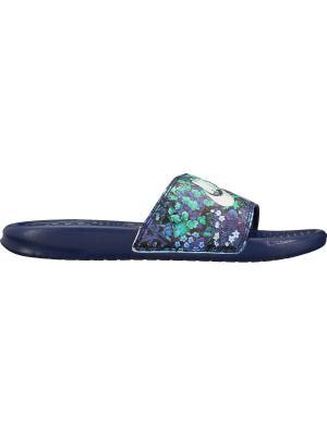 Шлепанцы WMNS BENASSI JDI PRINT Nike. Цвет: синий, белый, зеленый