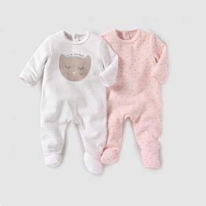 2 пижамы из велюра, 0 месяцев - 3 года R mini. Цвет: белый + розовый