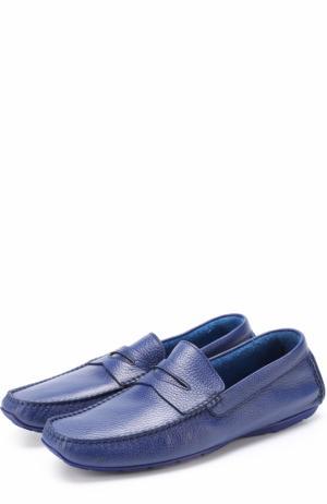 Кожаные мокасины с перемычкой Aldo Brue. Цвет: синий