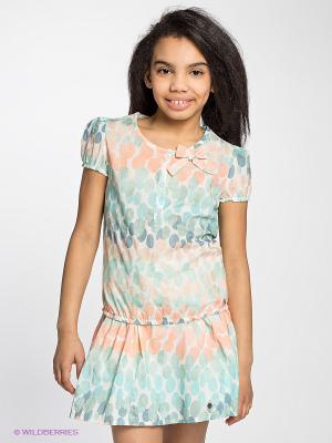 Блузка Sanetta. Цвет: зеленый, белый, синий