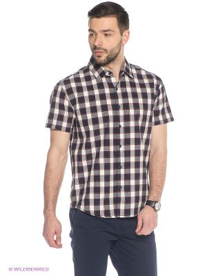 Рубашка Finn Flare. Цвет: темно-синий, белый, темно-красный