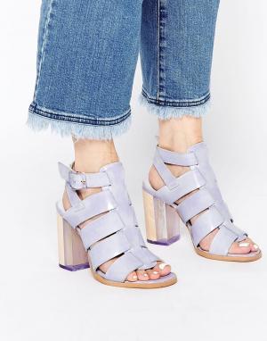 Miista Кожаные сандалии на каблуке с ремешками Isabella. Цвет: фиолетовый