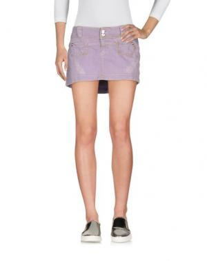 Джинсовая юбка TAKE-TWO. Цвет: сиреневый