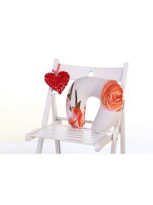 Подушка туристическая ARKADY. Цвет: светло-серый, персиковый, светло-коралловый