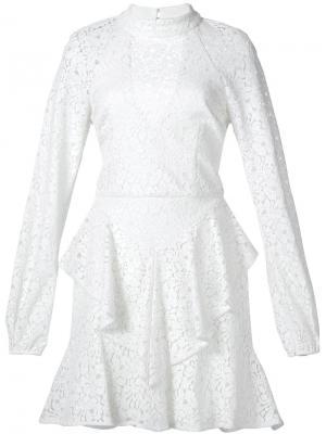Платье мини Sistine с оборками Rebecca Vallance. Цвет: белый