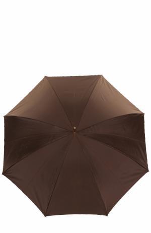 Зонт-трость с принтом и декором на ручке Pasotti Ombrelli. Цвет: темно-коричневый