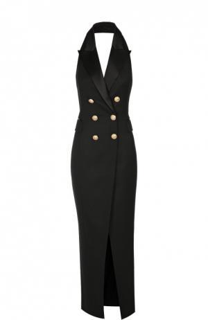Двубортное платье в пол с открытой спиной Balmain. Цвет: черный