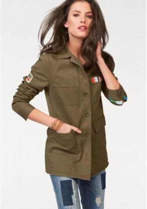 Куртка Aniston. Цвет: хаки/белый/красный/желтый