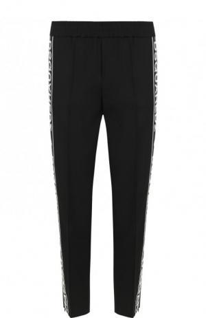 Укороченные брюки с эластичным поясом и контрастными лампасами Dsquared2. Цвет: черный