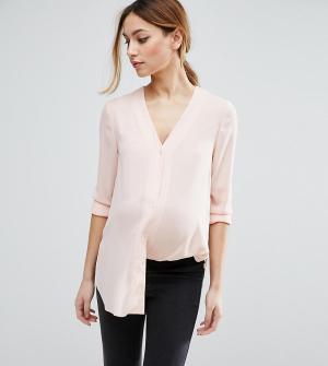 ASOS Maternity Блузка для беременных с V‑образным вырезом. Цвет: розовый