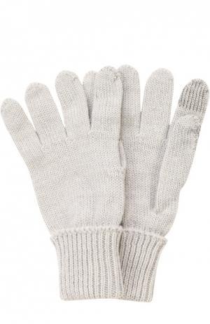 Вязаные перчатки из шерсти Il Trenino. Цвет: серый