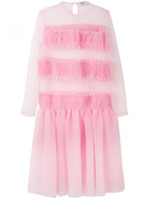 Платье с полупрозрачными вставками Anna K. Цвет: розовый и фиолетовый