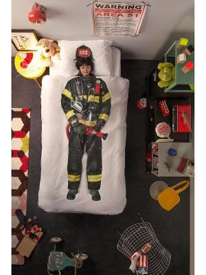 Комплект постельного белья Пожарный 150х200см SNURK. Цвет: черный, красный, желтый