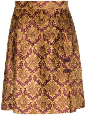 Мини-юбка с принтом G.V.G.V.. Цвет: жёлтый и оранжевый