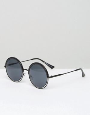 AJ Morgan Черные круглые солнцезащитные очки. Цвет: черный