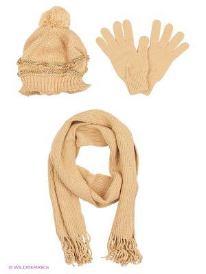Шапка;  шарф; перчатки Krife. Цвет: темно-бежевый, бежевый