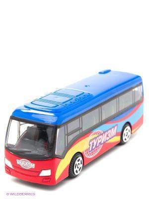 Автобус Технопарк металлический. Цвет: голубой, красный