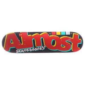 Дека для скейтборда  S5 Off Register Black 31.5 x 8.25 (21 см) Almost. Цвет: черный,красный