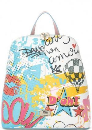 Разноцветный рюкзак на двухзамковой молнии Curanni. Цвет: мультиколор