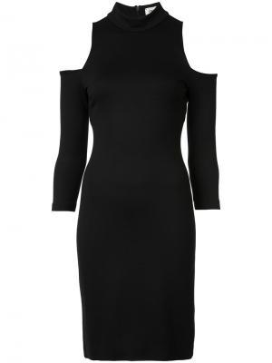 Платье с высоким воротом и вырезами на плечах Lagence L'agence. Цвет: чёрный