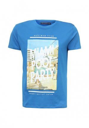 Футболка Piazza Italia. Цвет: синий