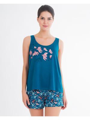 Пижама: майка, шорты Mark Formelle. Цвет: лазурный, белый, розовый
