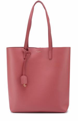 Кожаная сумка-шоппер с косметичкой Saint Laurent. Цвет: розовый