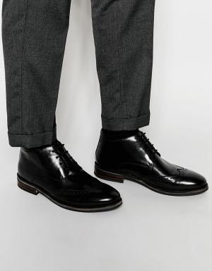 Dune Черные кожаные ботинки-броги. Цвет: черный