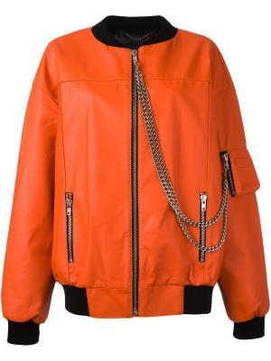 Куртка-бомбер с цепочной отделкой Misbhv. Цвет: жёлтый и оранжевый
