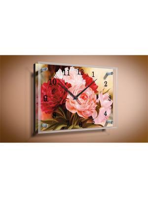 Настенные часы Пионы PROFFI. Цвет: бледно-розовый, розовый, оливковый, бордовый