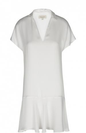 Мини-платье с глубоким V-образным вырезом и асимметричной юбкой Paul&Joe. Цвет: белый