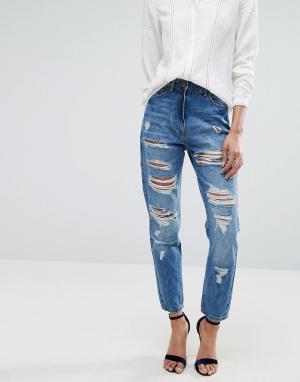 Parisian Рваные джинсы бойфренда с завышенной талией. Цвет: синий