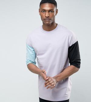 ASOS Оверсайз-футболка из плотного трикотажа с разными рукавами TALL. Цвет: фиолетовый