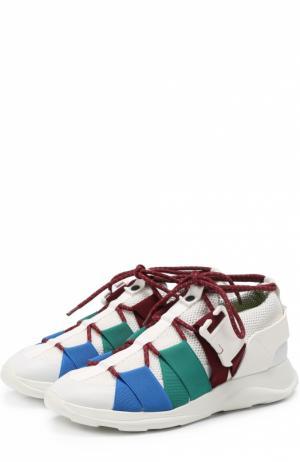 Комбинированные кроссовки с эластичными ремешками на шнуровке Christopher Kane. Цвет: белый