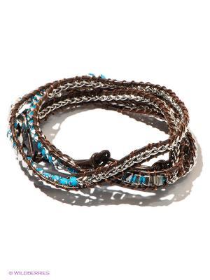 Браслет Bora. Цвет: темно-коричневый, голубой, серебристый
