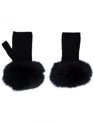 Перчатки Fingerless Trim Yves Salomon. Цвет: чёрный