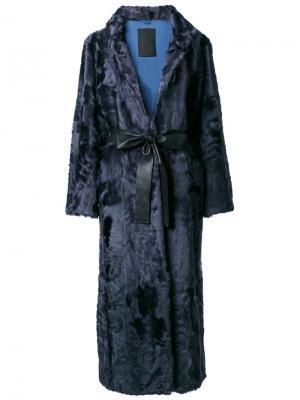 Свободное пальто Liska. Цвет: синий