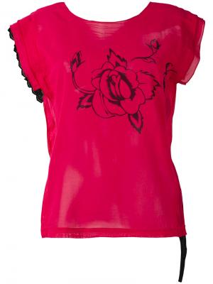 Футболка с принтом роз Hache. Цвет: розовый и фиолетовый