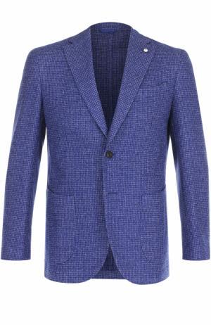 Однобортный пиджак из смеси шерсти и хлопка L.B.M. 1911. Цвет: синий