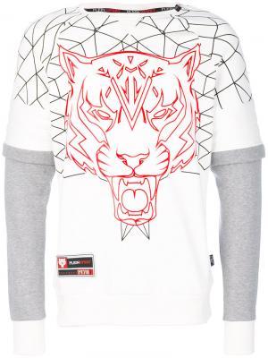 Толстовка с вышивкой Tiger Plein Sport. Цвет: белый