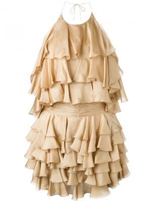 Платье с рюшами Balmain. Цвет: телесный