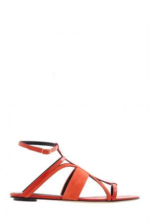 Кожаные сандалии Oscar de la Renta. Цвет: красный, оранжевый
