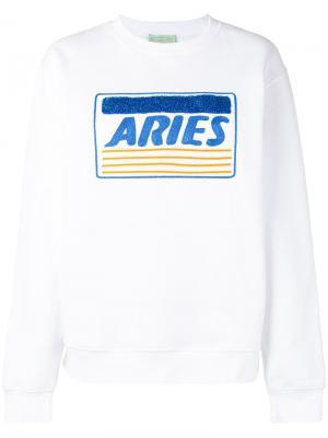 Толстовка с вышивкой Aries. Цвет: белый
