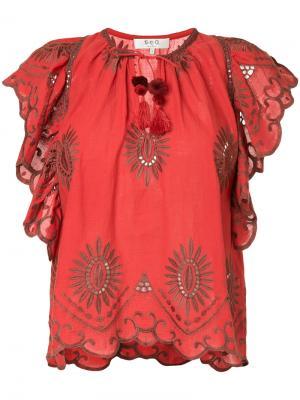 Блузка с вышивкой и вырезными деталями Sea. Цвет: красный