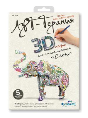 Пазл 3D для раскрашивания Арт-терапия Слон. Origami. Цвет: белый, зеленый, оранжевый