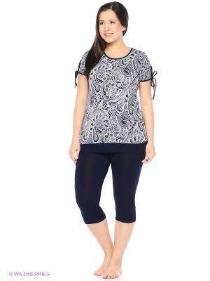 Комплект домашней одежды (футболка, бриджи) HomeLike. Цвет: темно-синий